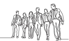 pencil drawing of businesses men and women